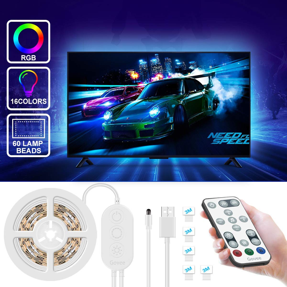 LED TV Backlight 2M, Govee LED Strip Lights for TV USB Powered
