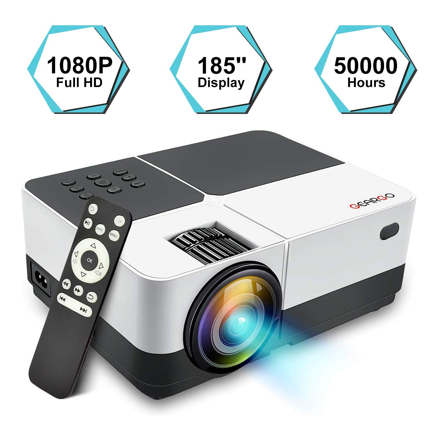 "Projector, GEARGO Video Projector Supports Full HD 1080P 185"" Display and 2800 Lumen"