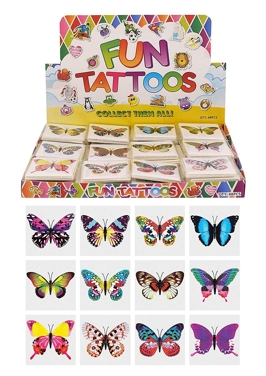 24 x Butterfly Temporary Tattoos Children's Birthday Loot Party Bag Filler