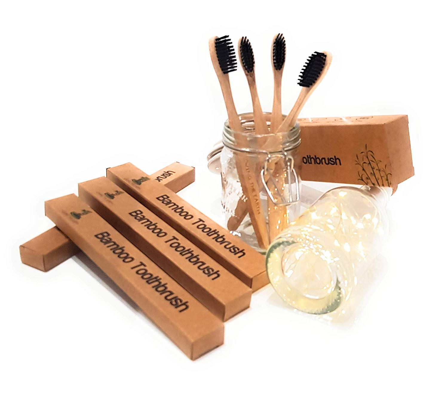 4 Bamboo Toothbrushes Enhanced with Medium Black Charcoal Infused Bristles