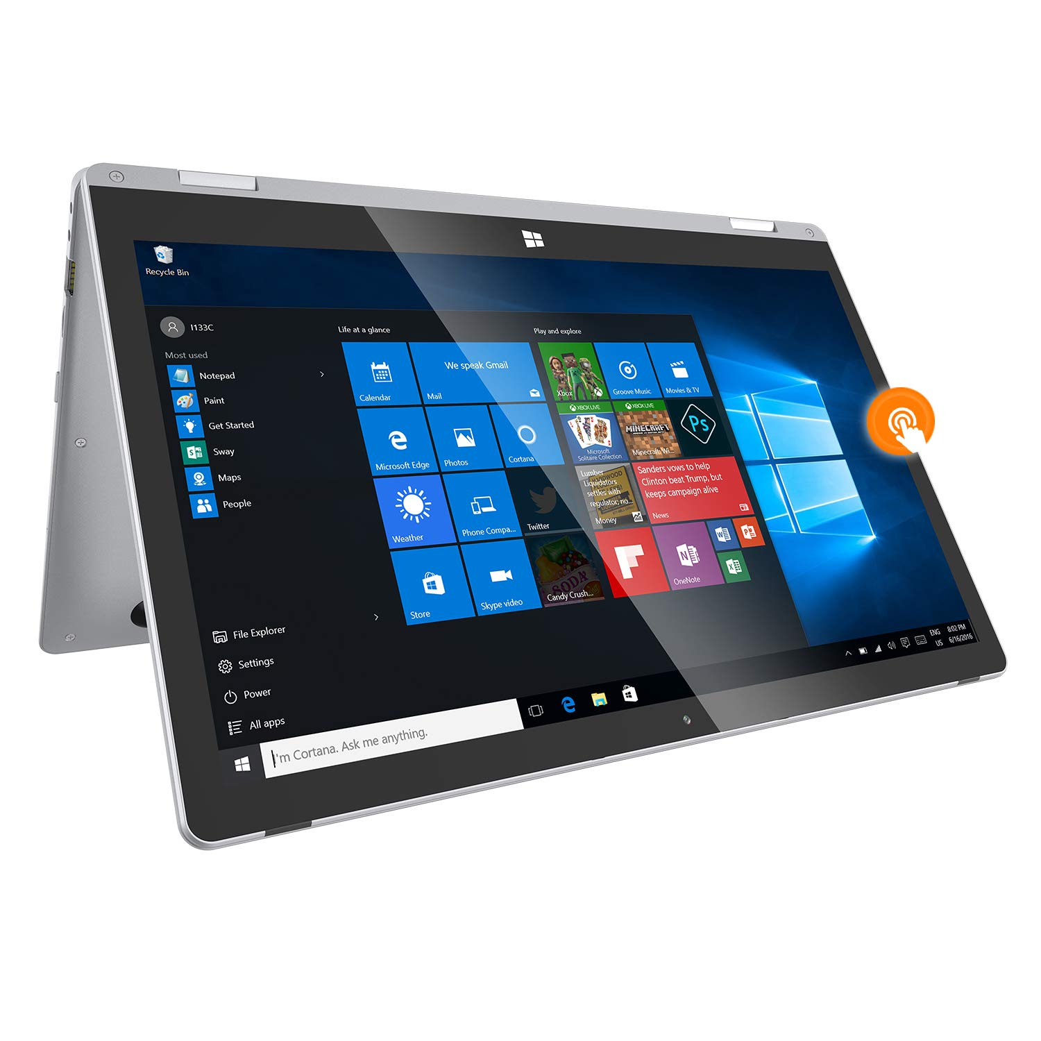 2 in 1 Laptop ,13.3″ FHD touch screen,4GB+32GB with 128GB SSD,Windows 10