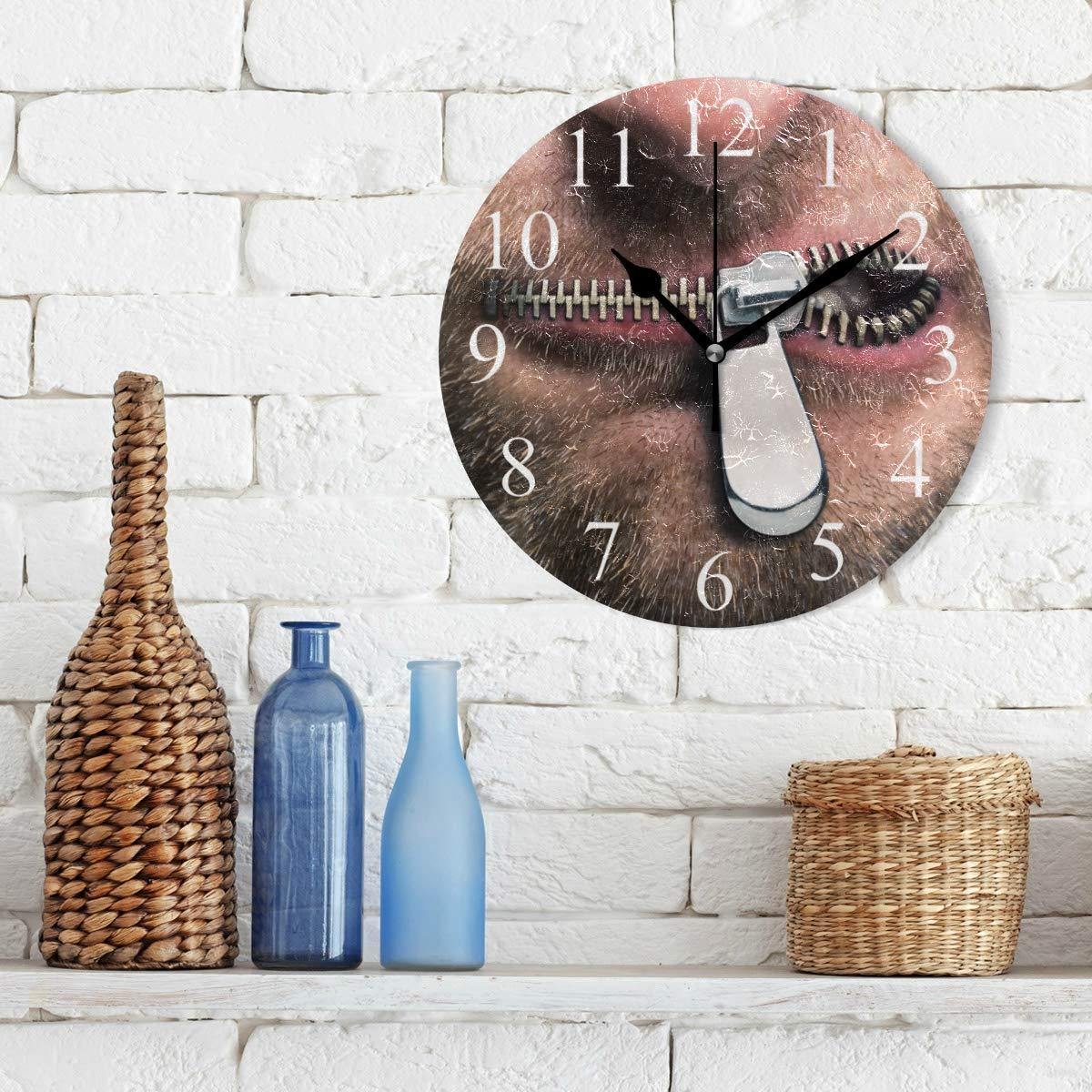 LUCASE LEMON ALEX Creative Banned Zipper Lips Round Acrylic Wall Clock