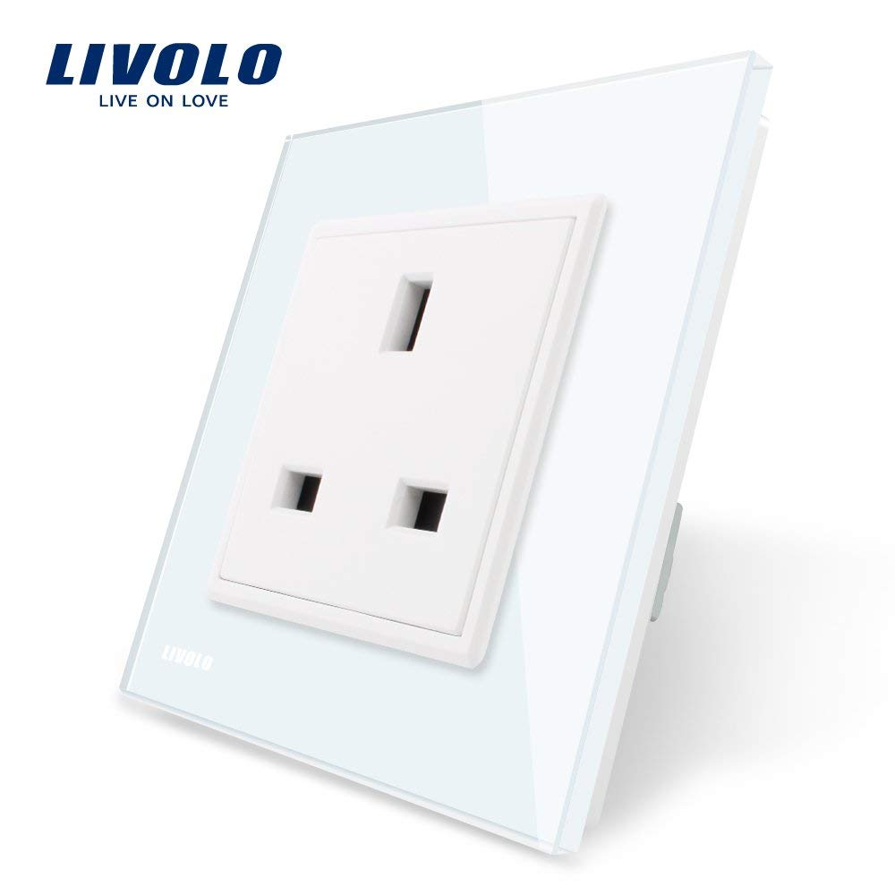 LIVOLO White Wall Socket with Tempered Glass Panel