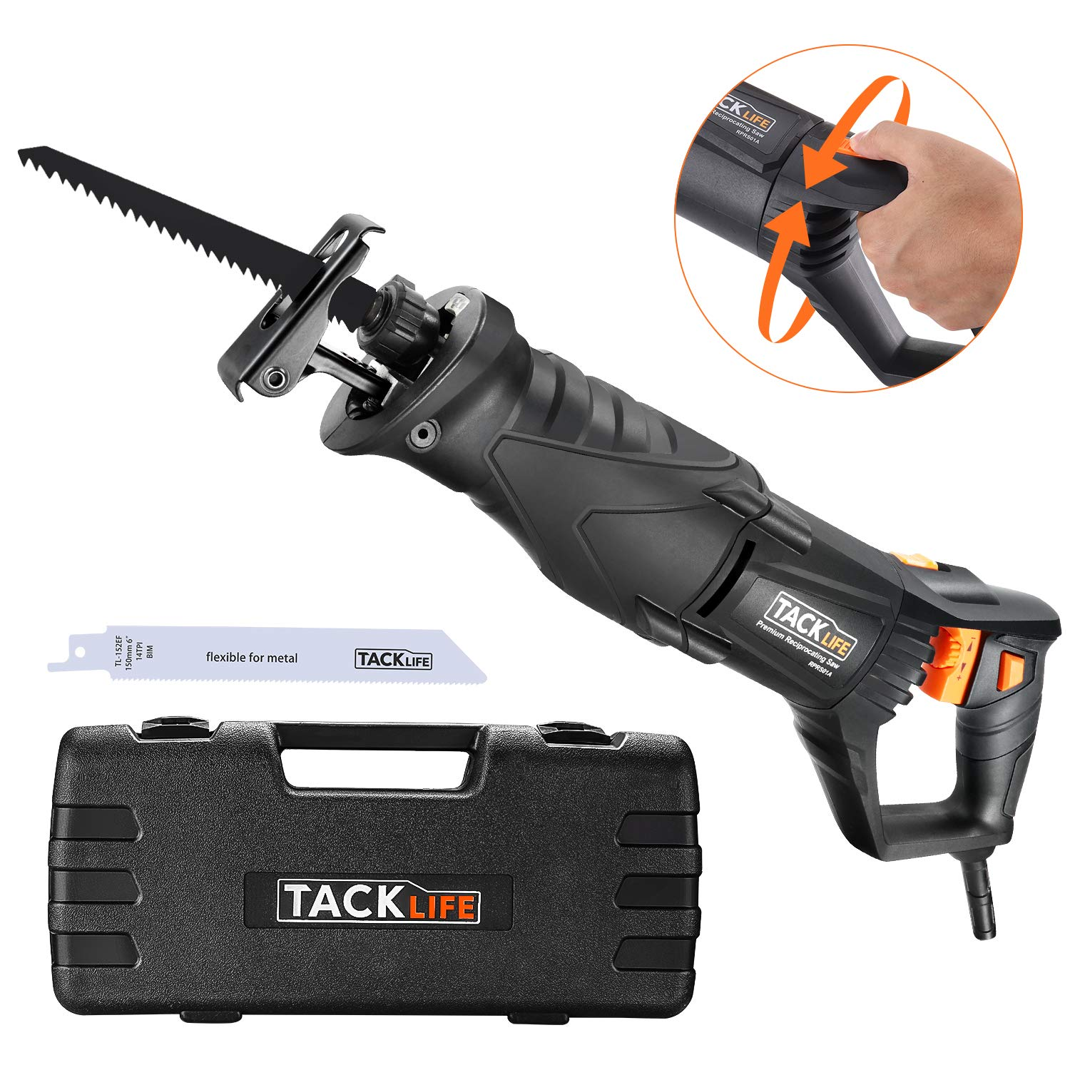 TACKLIFE Reciprocating Saw, 850W, 2800SPM, Rotary Handle(90° Left & Right)