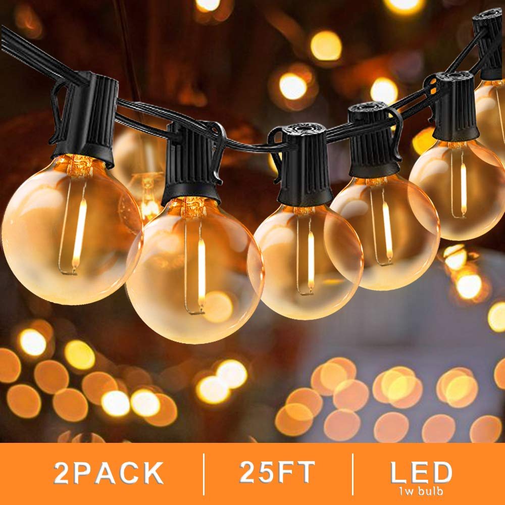 Svater Led Globe String Lights Outdoor 25FT Commercial Grade Patio Lights