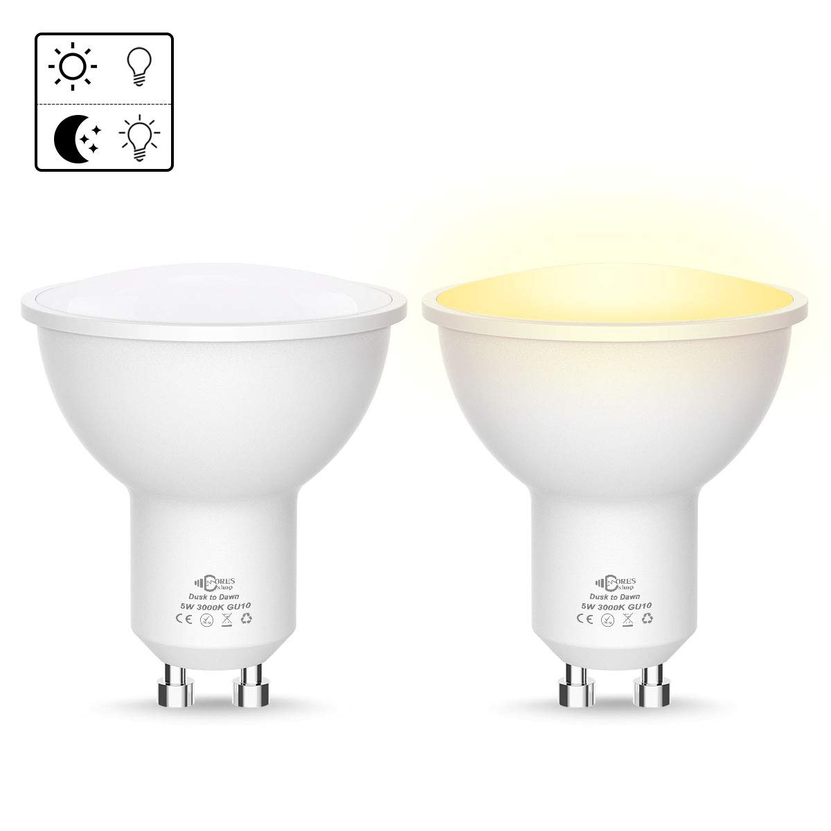 5W GU10 LED Dusk Till Dawn Light Bulbs