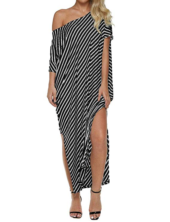 Qiopes Women Off The Shoulder Asymmerical Design Striped Pattern Dress Dresses