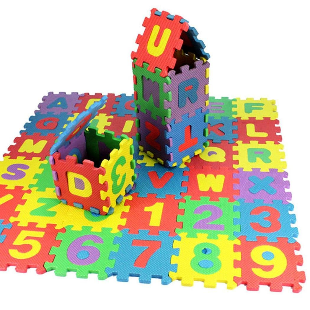 Pongaps 36PCS Baby Kids Alphanumeric Educational Puzzle Foam Mats Blocks