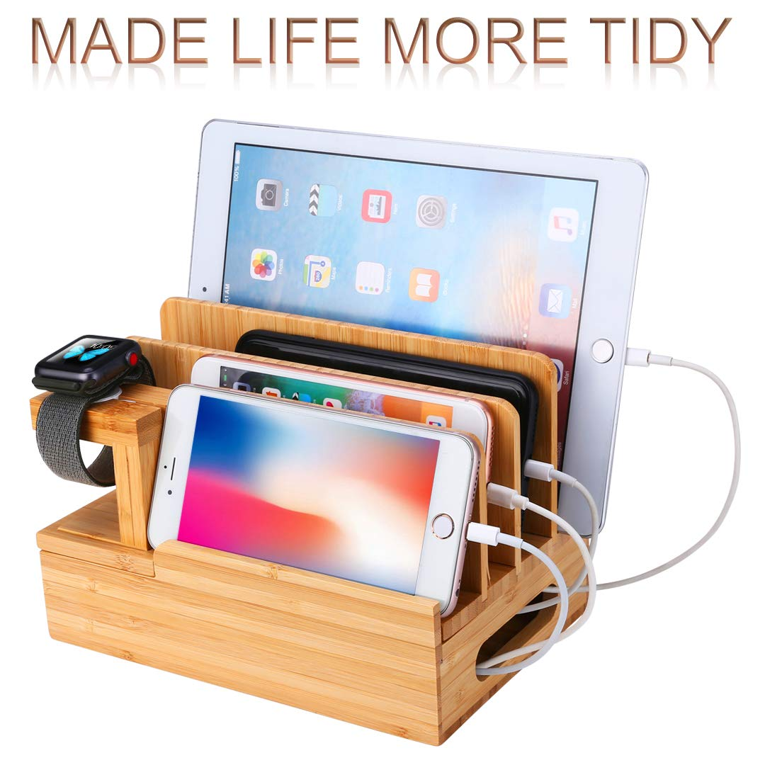 Device Charging Station Docking Stand Desk Organizer Bamboo Wood USB Storage Container