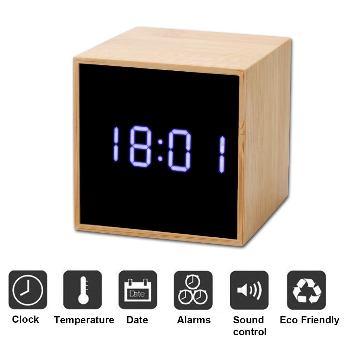 Digital Alarm Clock, Wooden LED Cube Block Clock Travel Clock Best Gift for Kids Bedroom