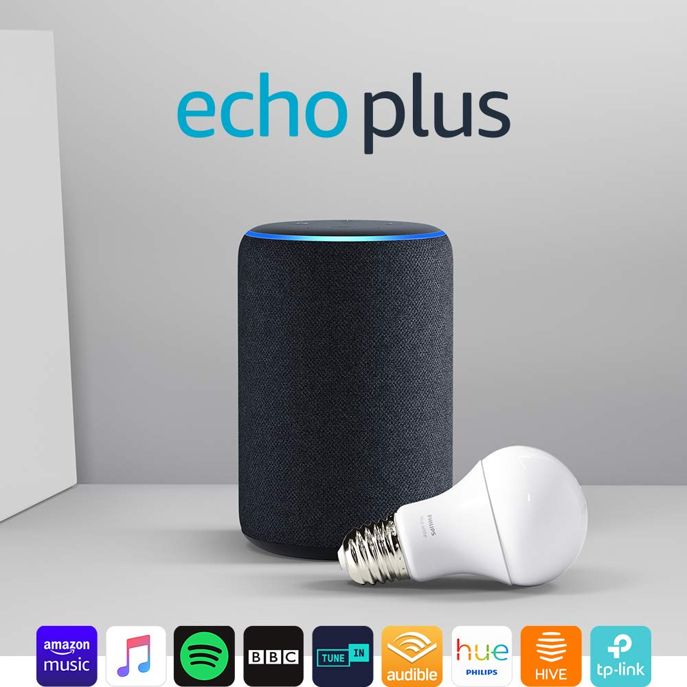 Prime Day – Echo Plus (2nd Gen), Charcoal Fabric + Philips Hue White bulb E27