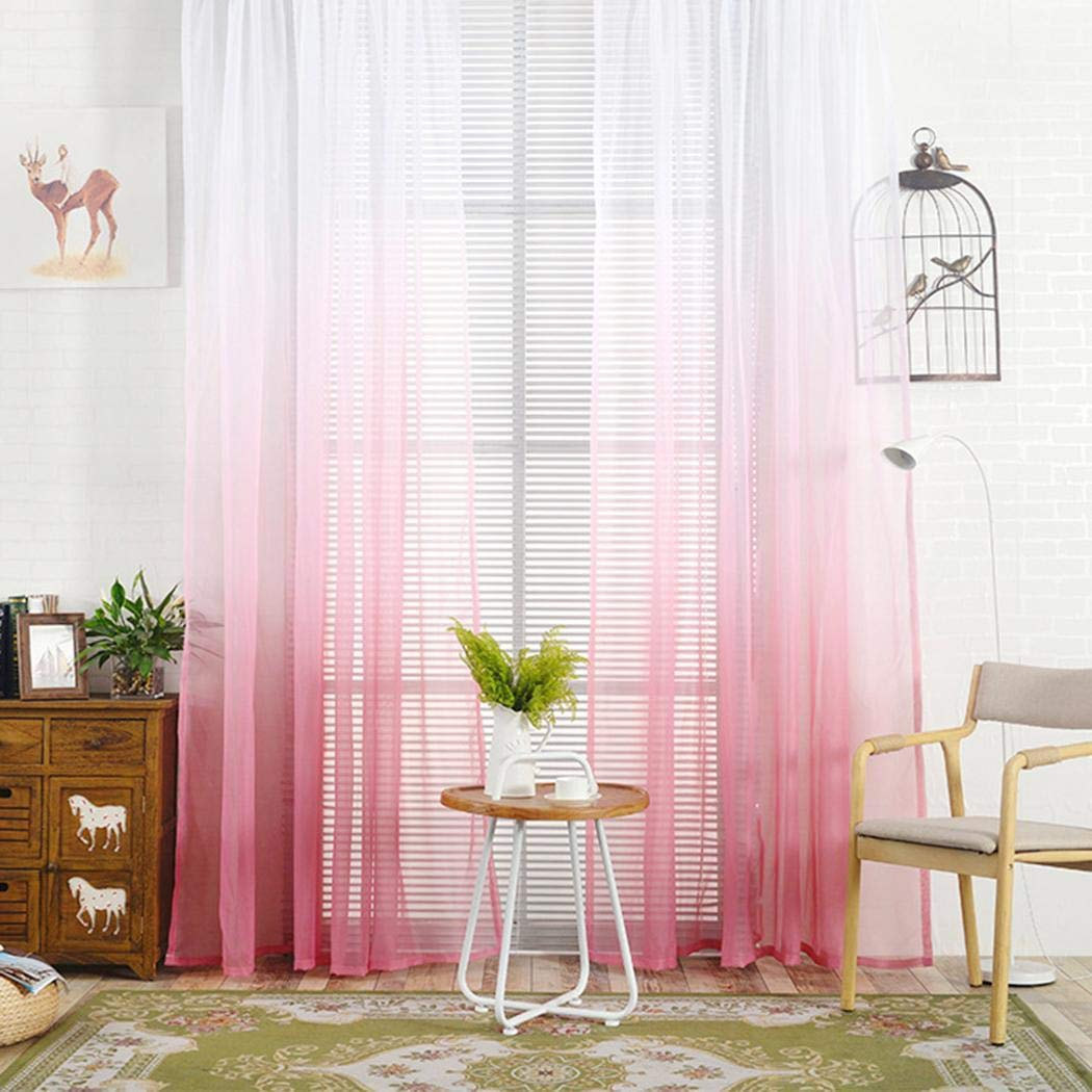 shanefre Window Curtain Gradient Color Patchwork Light Transmission Window Curtain