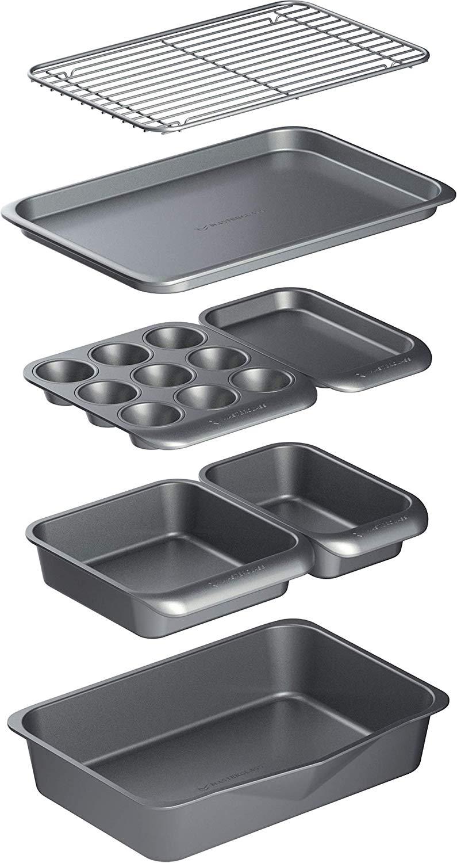 MasterClass Smart Space Non-Stick Carbon Steel Stackable Bakeware Set (7 Pieces)