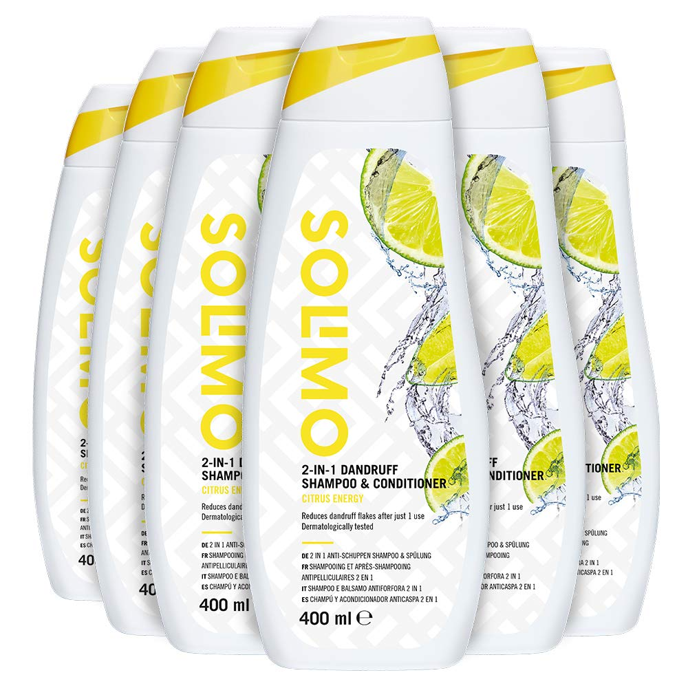 Solimo 2-in-1 Dandruff Hair Shampoo & Conditioner – Citrus Energy – Pack of 6