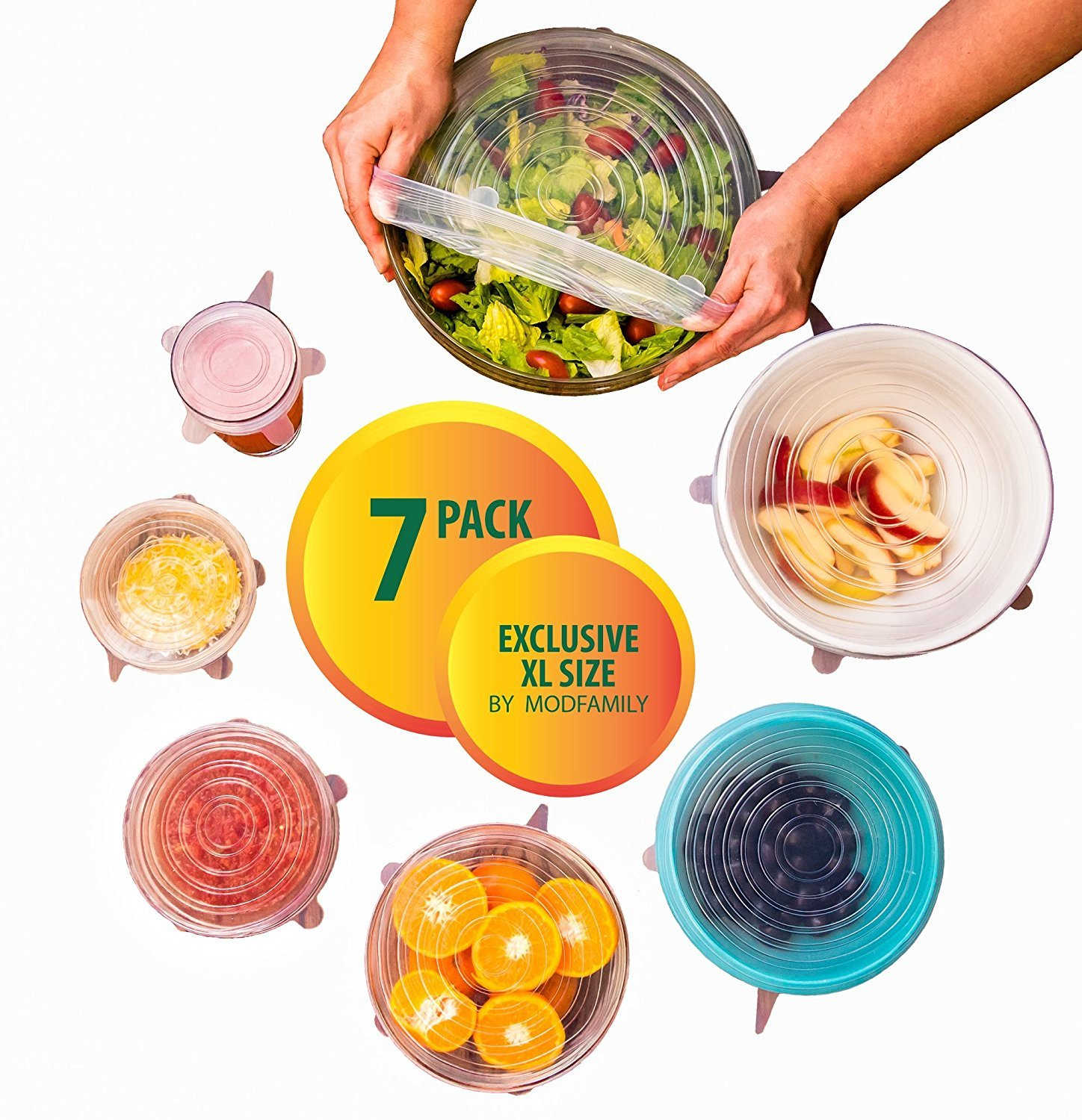 Silicone Stretch Lids (7 pack, includes EXCLUSIVE XL SIZE), Reusable, Durable and Expandable