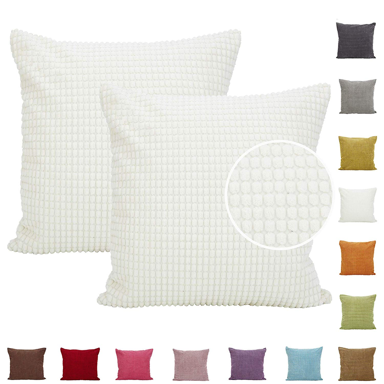 2pcs Solid Color Big Corn Striped Thick Corduroy Decorative Cushion Cover