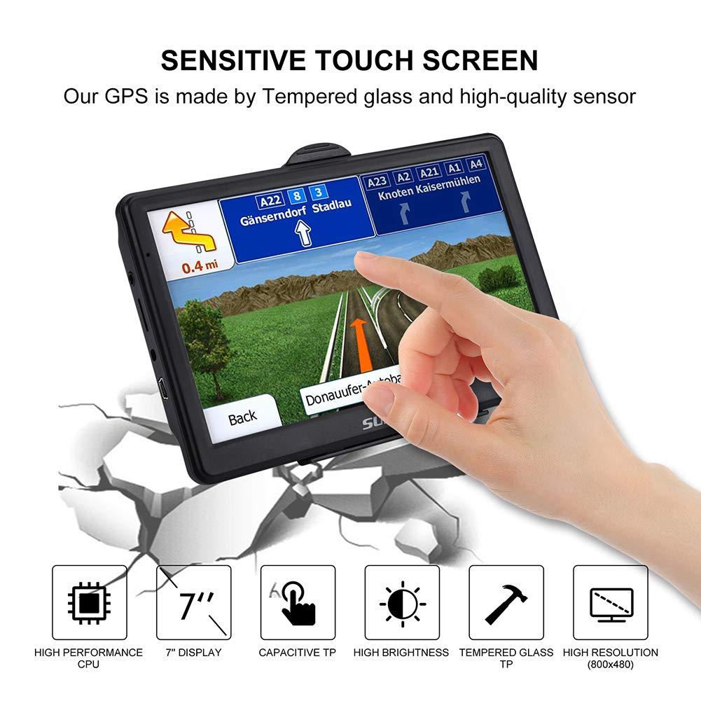 SAT NAV 7 inch 8 GB high brightness touchscreen gps navigator including pre-installed UK and EU maps 2019 lifetime updates for free