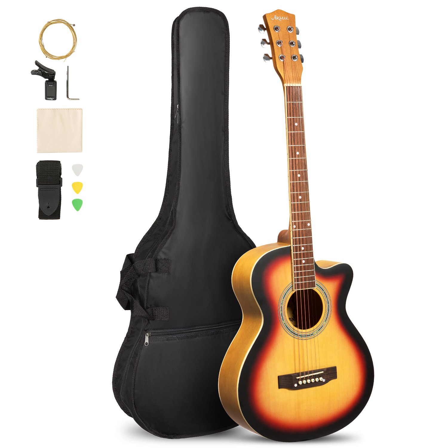 ARTALL 39 Inch Handmade Solid Wood Acoustic Cutaway Guitar Beginner Kit