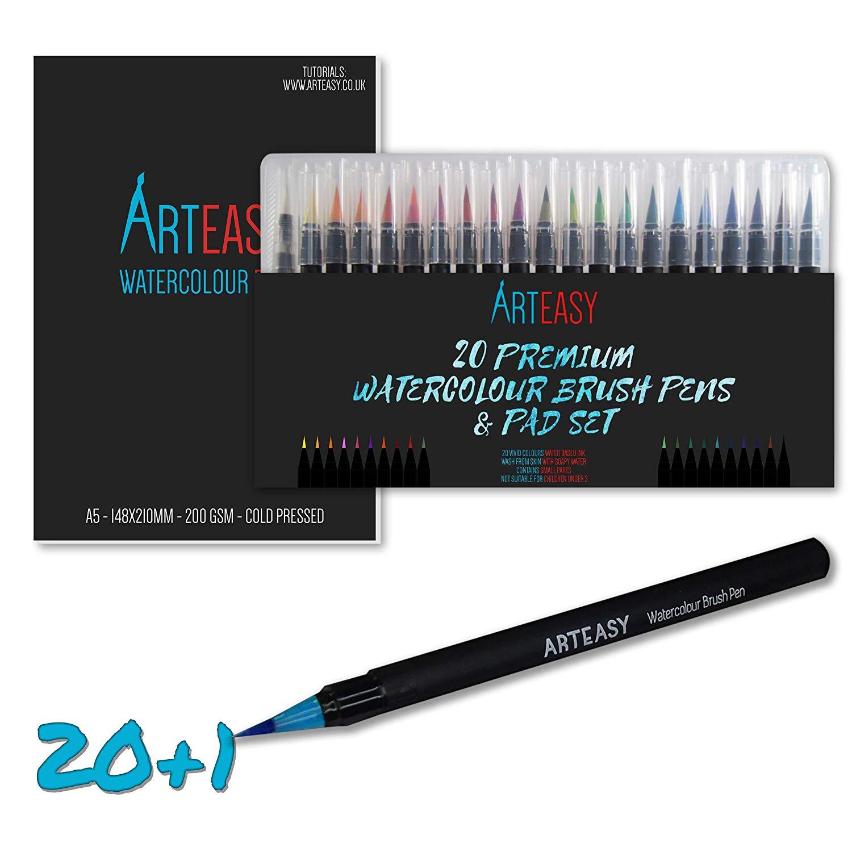 Watercolour Brush Pens & 15 Sheet Pad Set – Real Paint Water Colour Markers – Art Pen Set