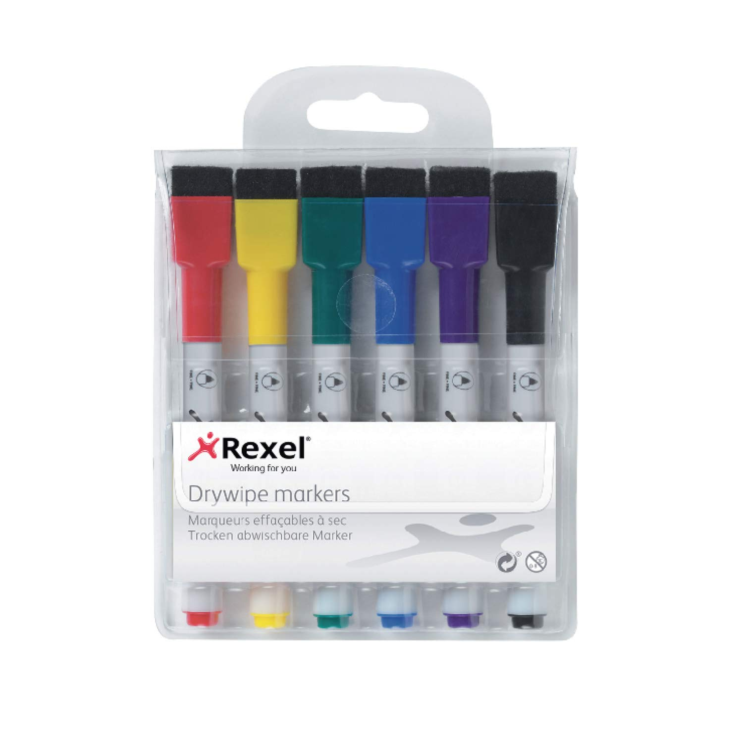 Rexel Dry Erase Markers, Pack of 6, Assorted Colours, 1903792