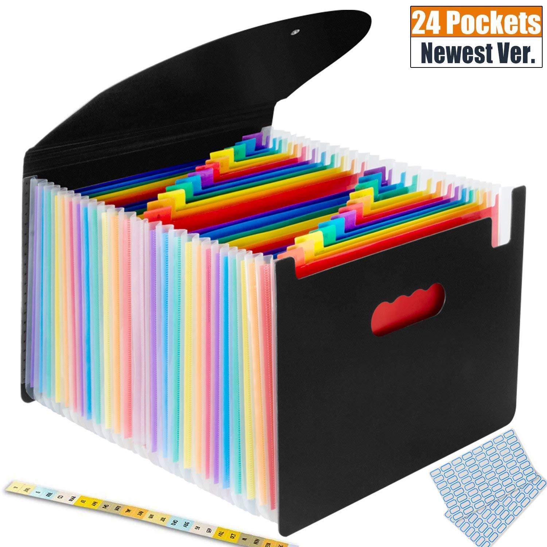 Expanding File Folder, KEYMEN 24 Pockets Multi-Color Accordion A4 Documents File Bill Letter Organiser