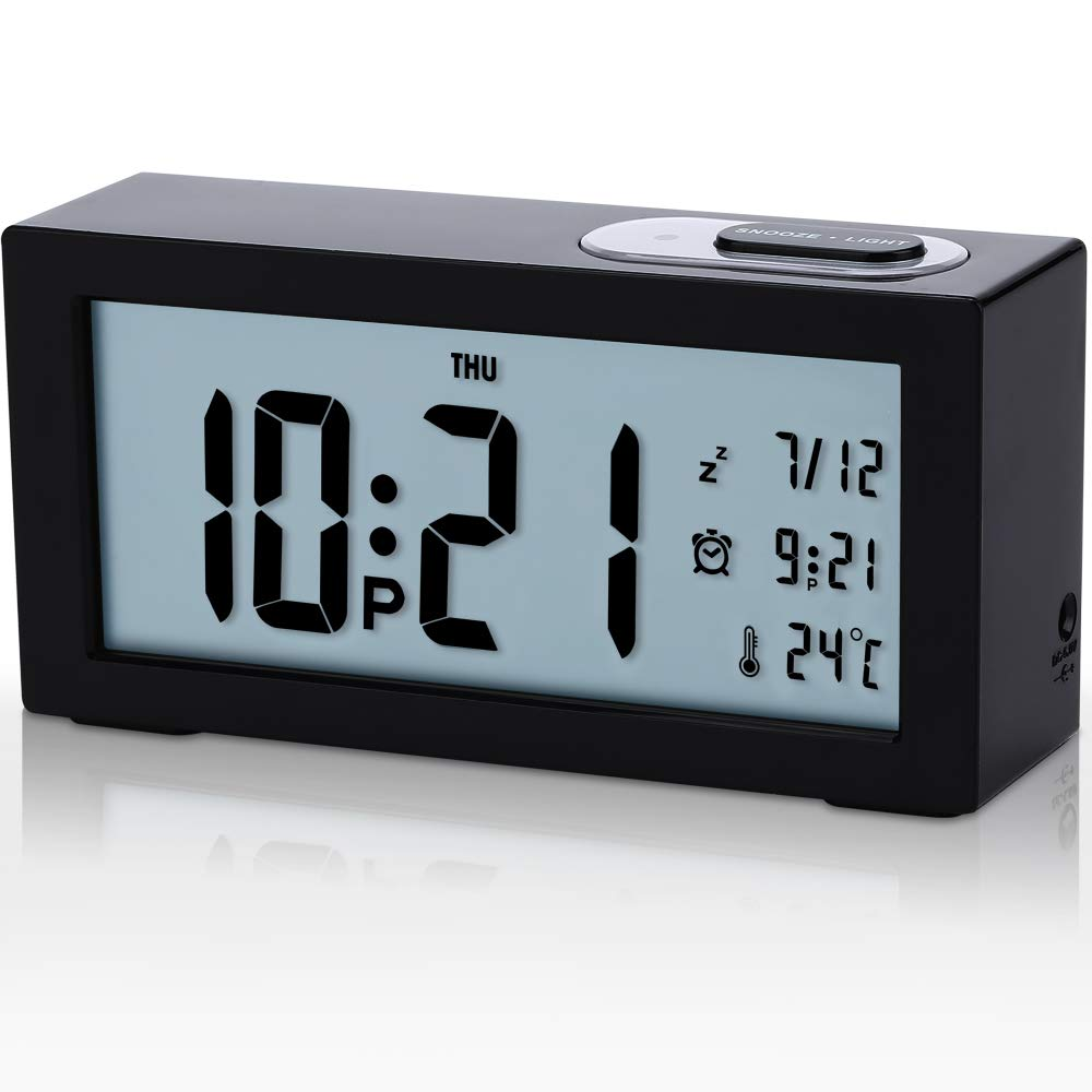Tisaika Alarm Clocks Bedside Non Ticking Battery Operated Digital Silent Clocks
