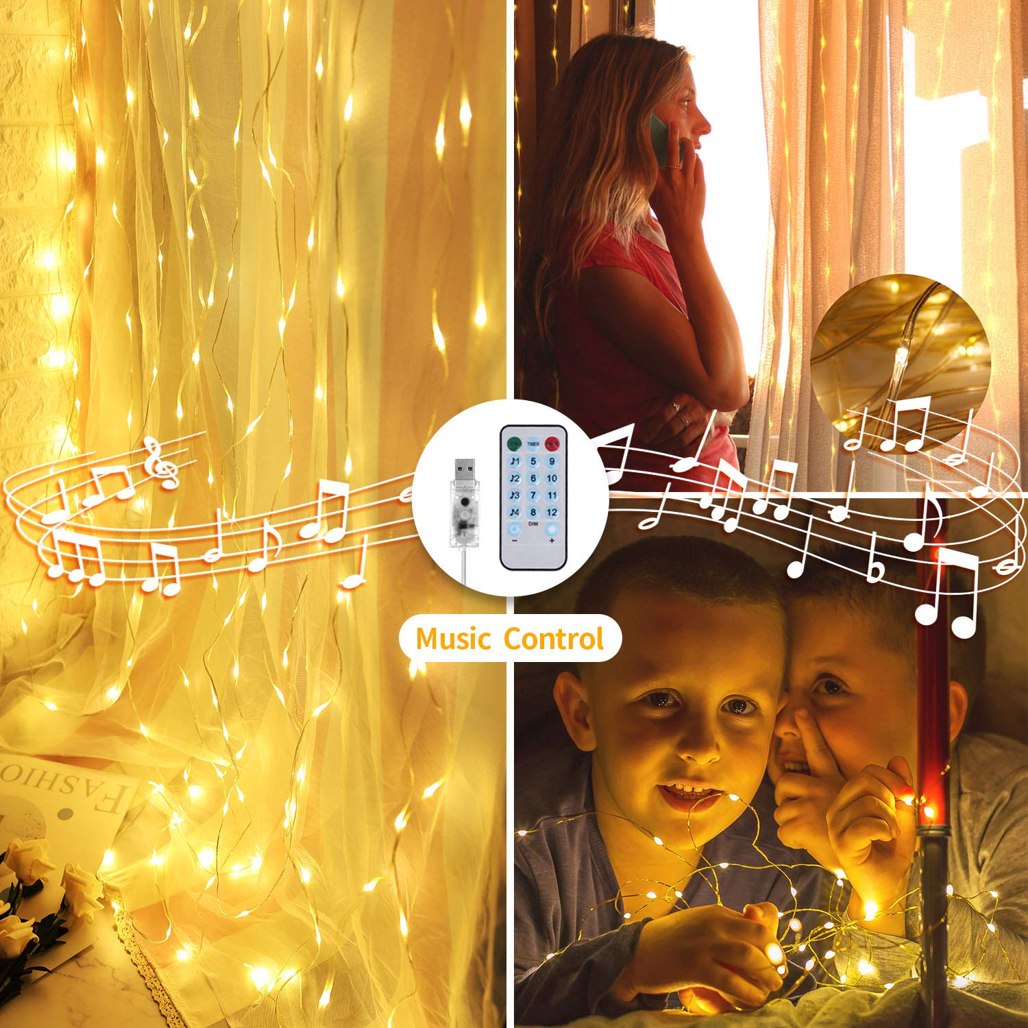 OUSFOT LED Curtain Lights Sound Activated 300 LED Curtain String Lights 4 Music Modes & 8 Lighting Modes