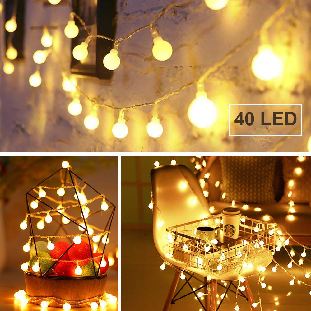 Battery Powered Fairy Lights, 40 LED Globe String Lights with Timer, 8 Modes, 14ft Warm White