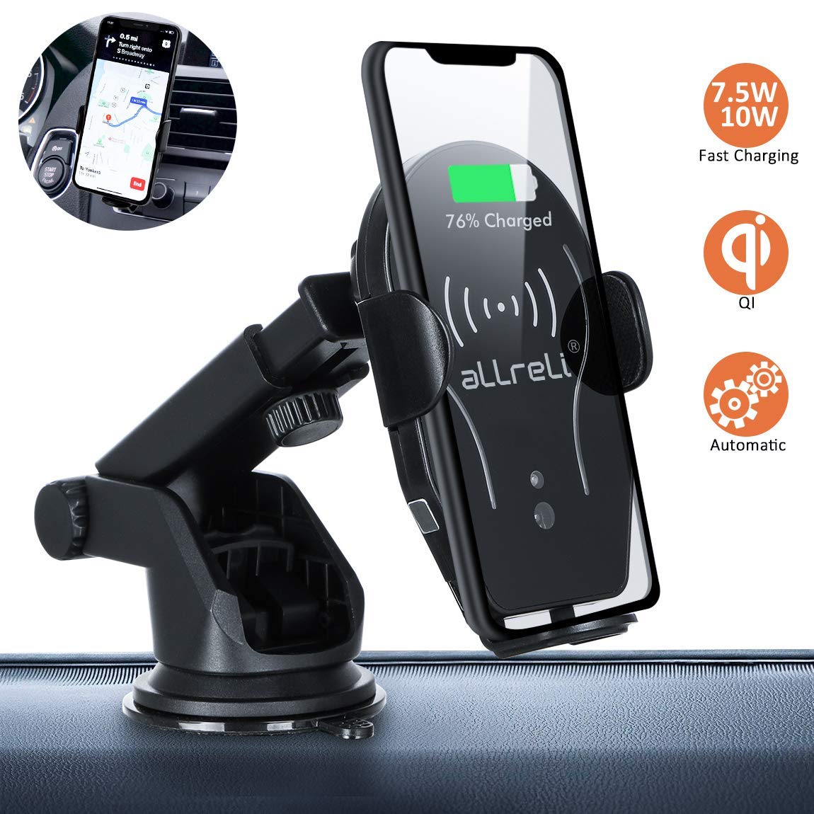aLLreli Wireless Car Charger Phone Holder