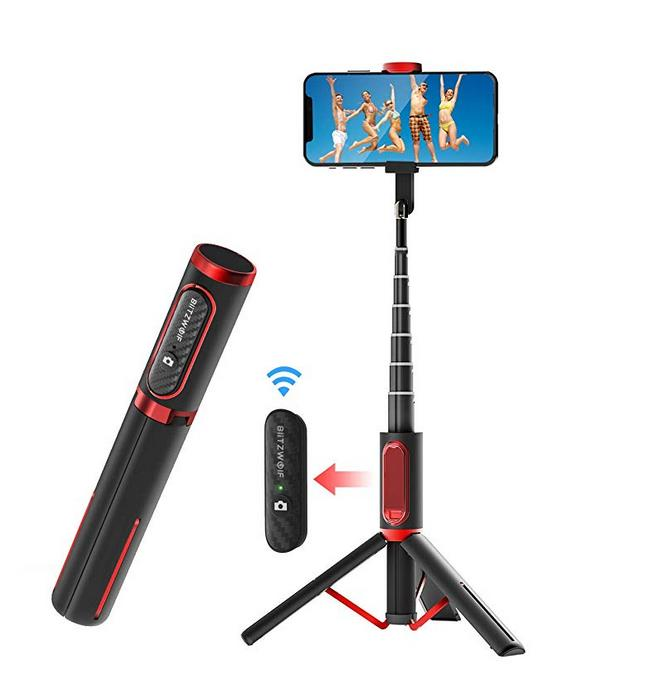 BlitzWolf Selfie Stick Bluetooth, Lightweight Aluminum All in One Extendable Selfie Stick Tripod
