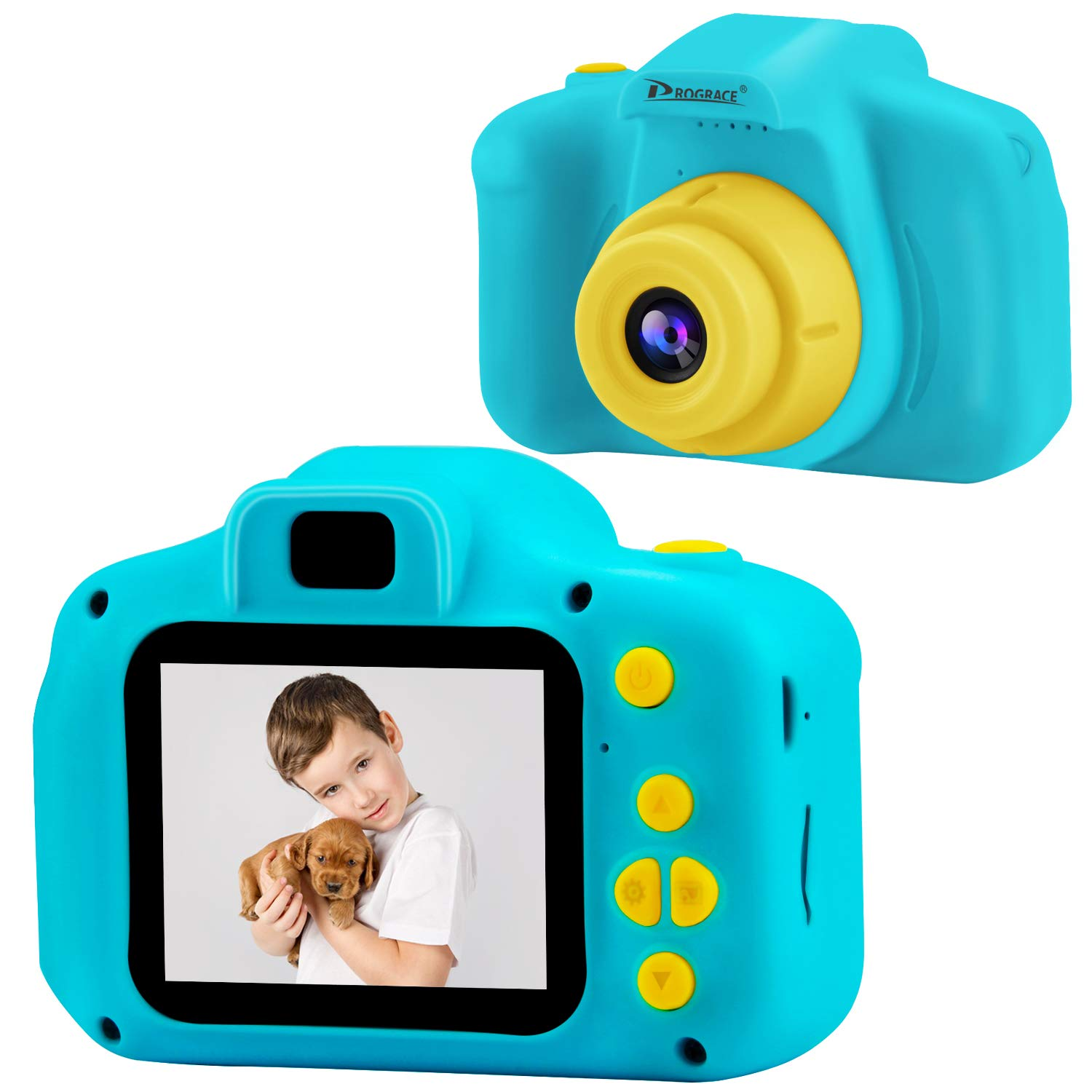 Prograce Kids Camera 1080P IPS 2 Inch Boys Girls Birthday Toy Gifts 4-12 Year Old