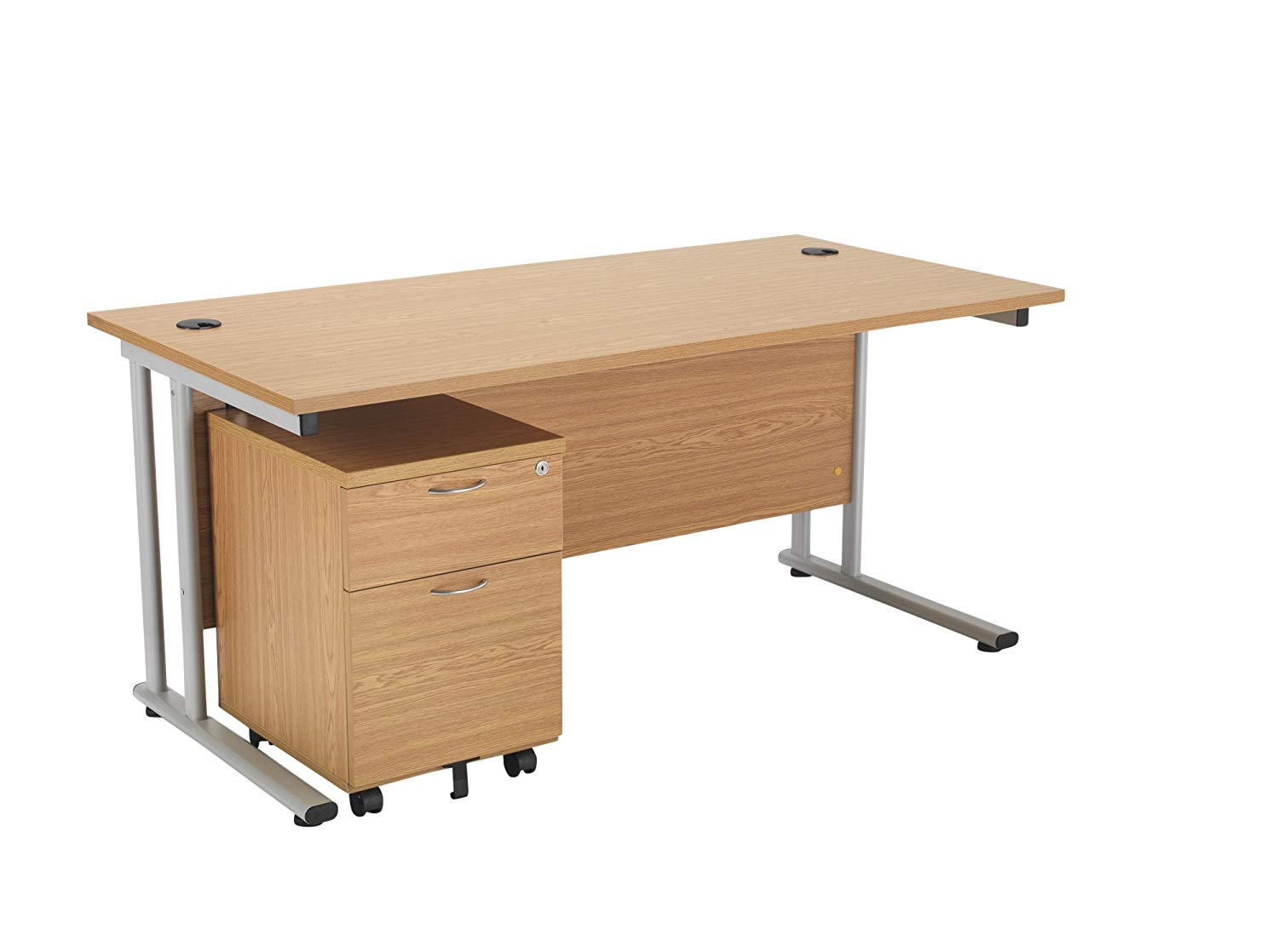 Office Hippo Professional Cantilever Office Desk With 2 Drawer Mobile Pedestal,140 x 80 x 73 cm