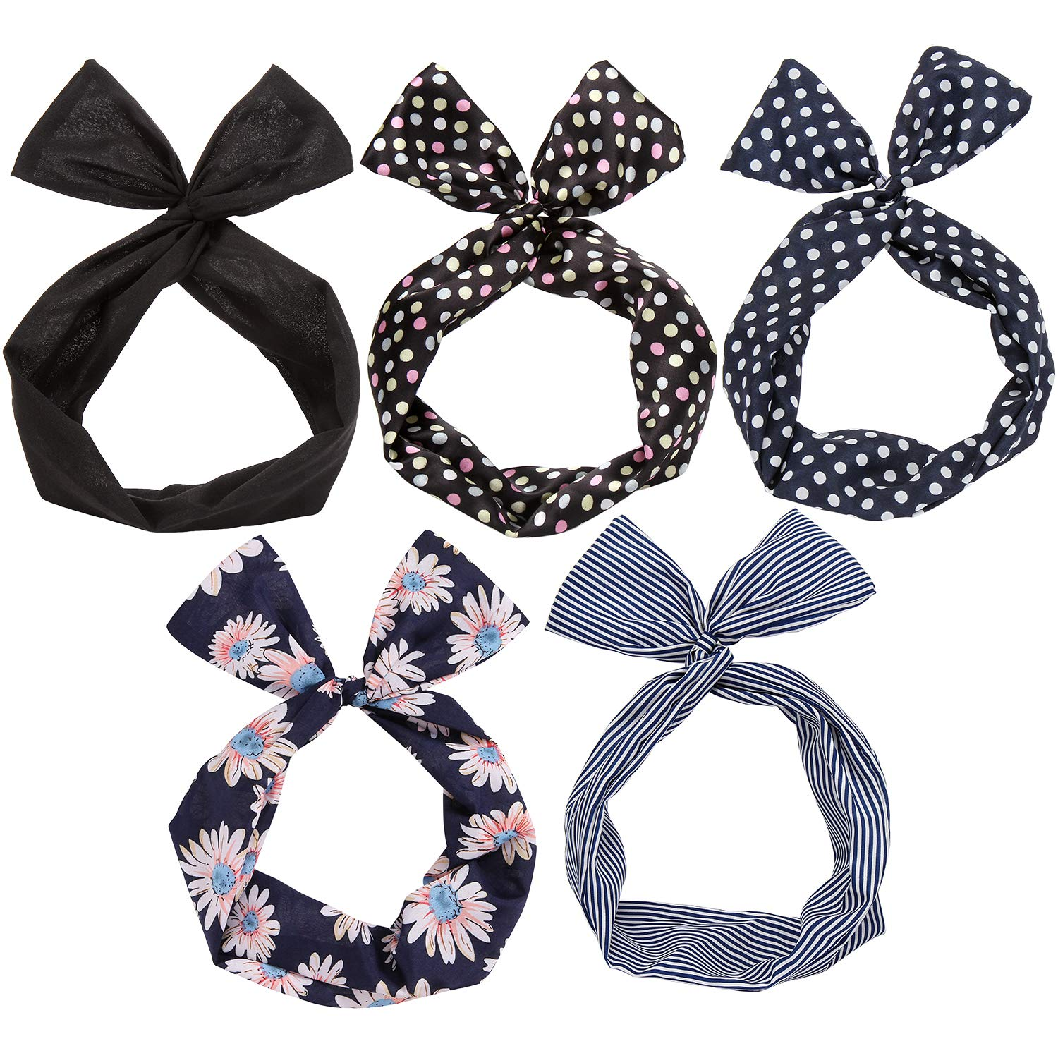 Wired Headbands Scarf Wrap Hair Accessory Hairband (5 Packs)