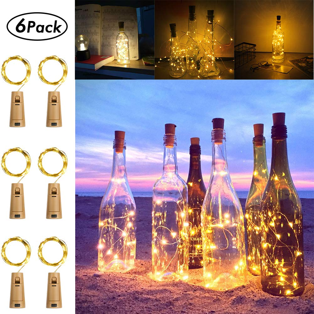 [6 Pack] 2M 20 LEDs Battery Operated Fairy String Lights with Wine Cork [Timer & 5 Modes]