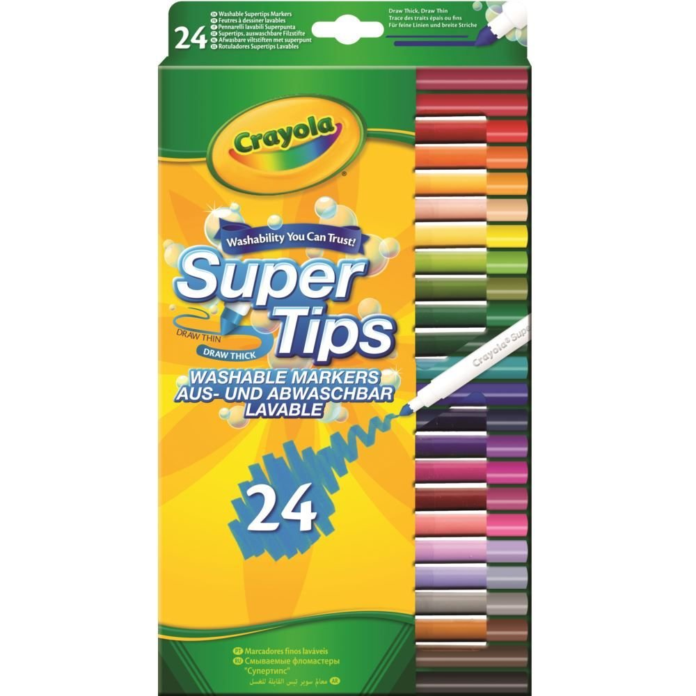 Washable Felt Tip Colouring Pens, Pack of 24