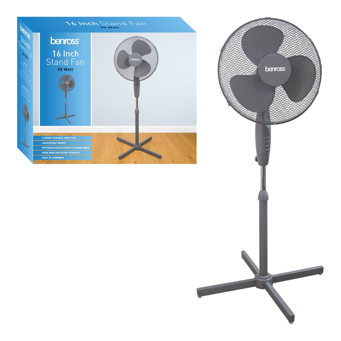 Benross 16 inch 3-Speed Stand Fan Oscillating and Tilting Head, 50W