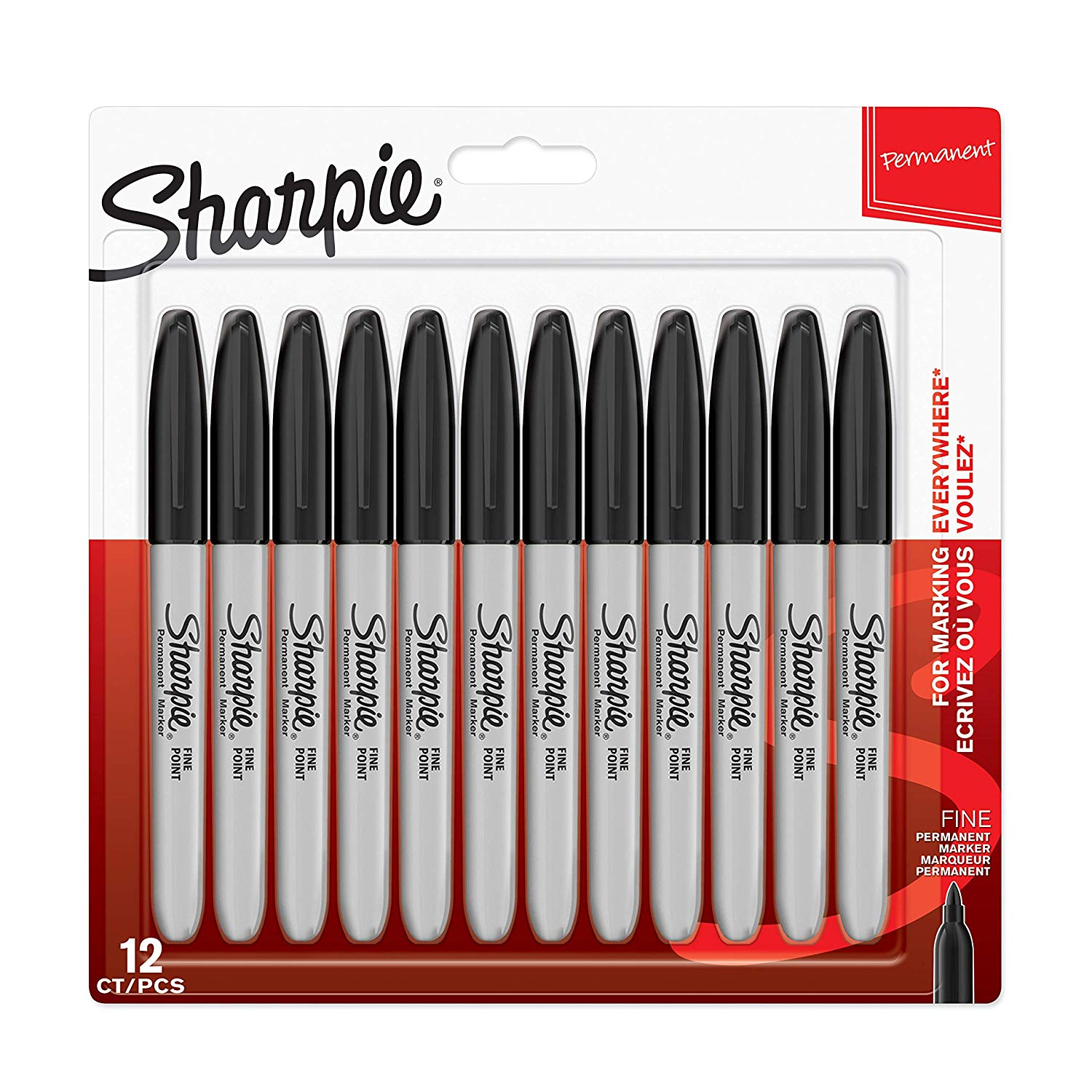 Sharpie Permanent Markers, Fine Tip, Black, 12 Pack
