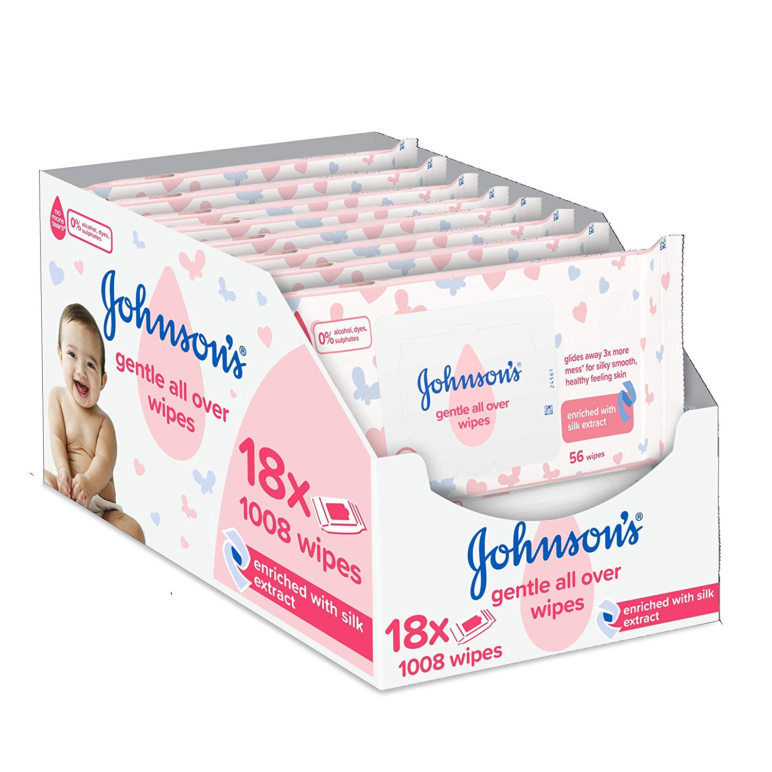 Johnson's Baby Gentle Wipes, Pack of 18 (Total 1008 Wipes)