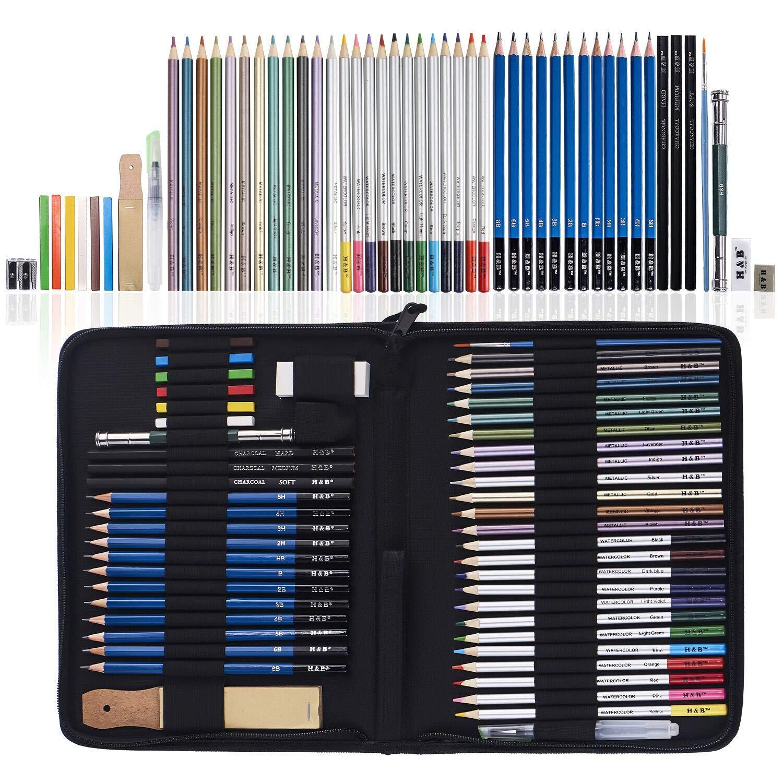 52 Piece Drawing Pencils, Colouring Pencils and Sketch Pencils Set