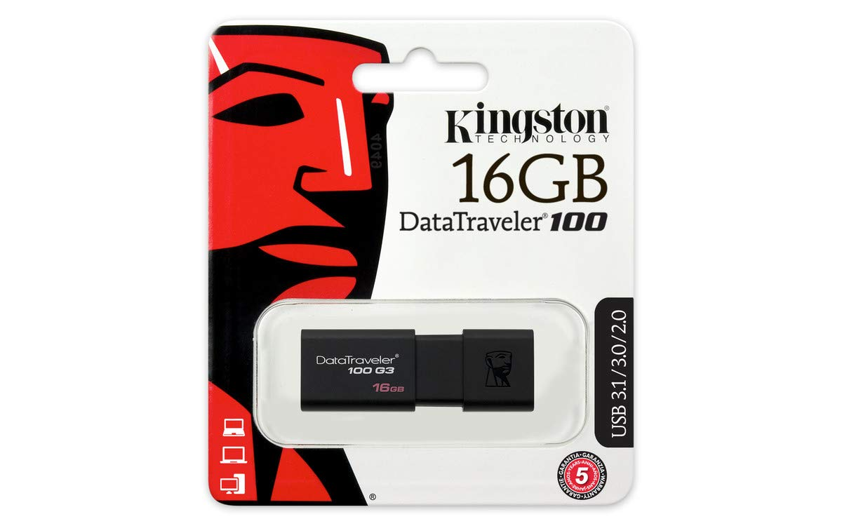 Kingston DT100G3/16GB DataTraveler 100 G3, USB 3.0, 3.1 Flash Drive, 16 GB