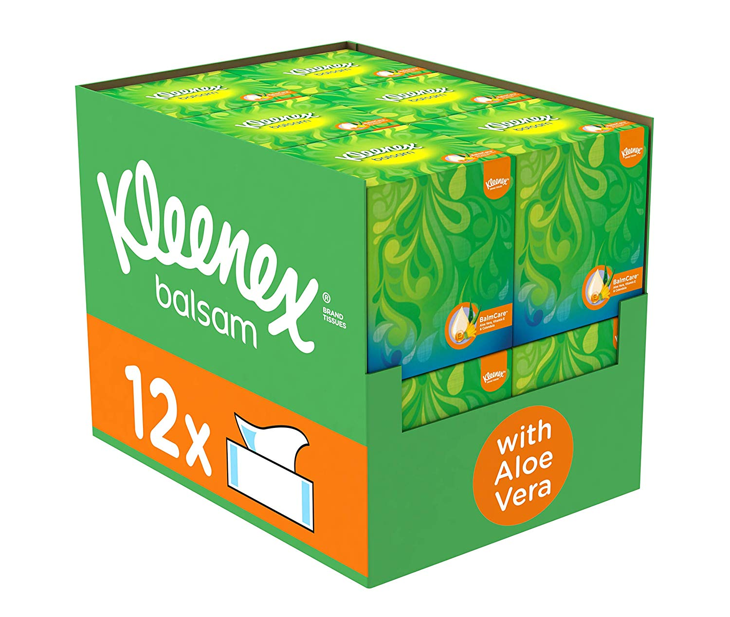 Kleenex Balsam Facial Tissues (Protective Balm for Cold and Flu Symptoms), Pack of 12