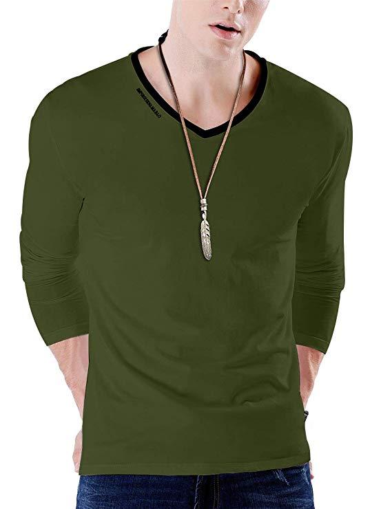 JNC Men's Premium V Neck Casual Slim Fit Short Sleeve