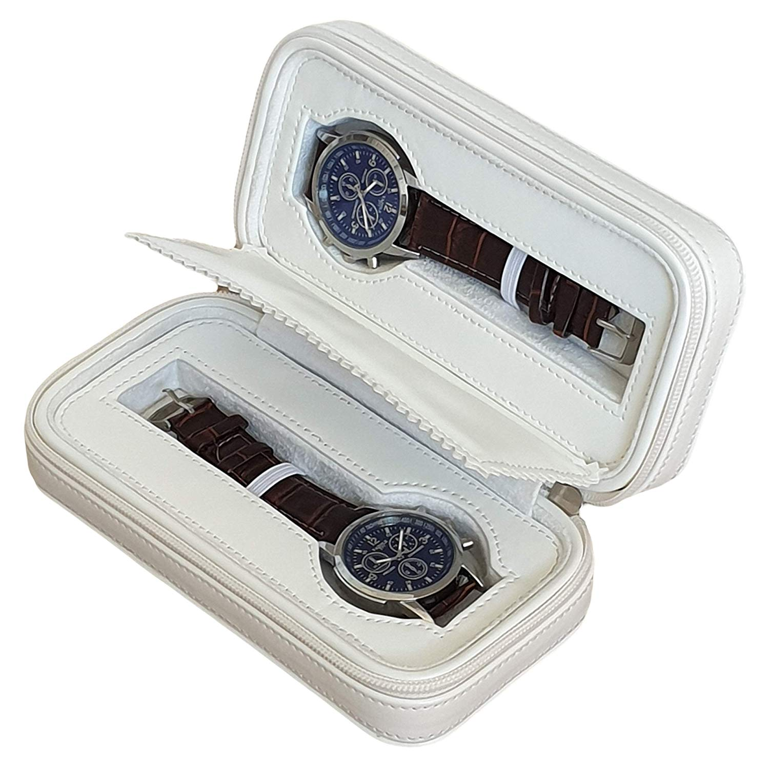 createBB Watch Box Travel Case for Men and Women Faux Leather with 2 Slots Storage.