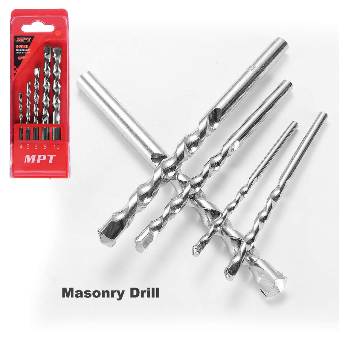 MPT Drill bits Set for Masonry(5 Pieces) Toolkit Package