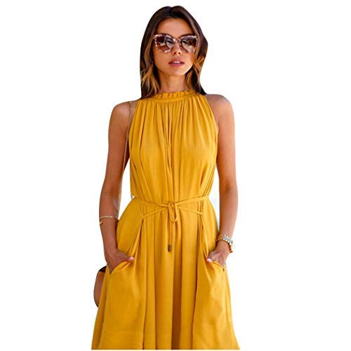 Qiopes Womens Casual Sleeveless Lace Up Pleated Dress