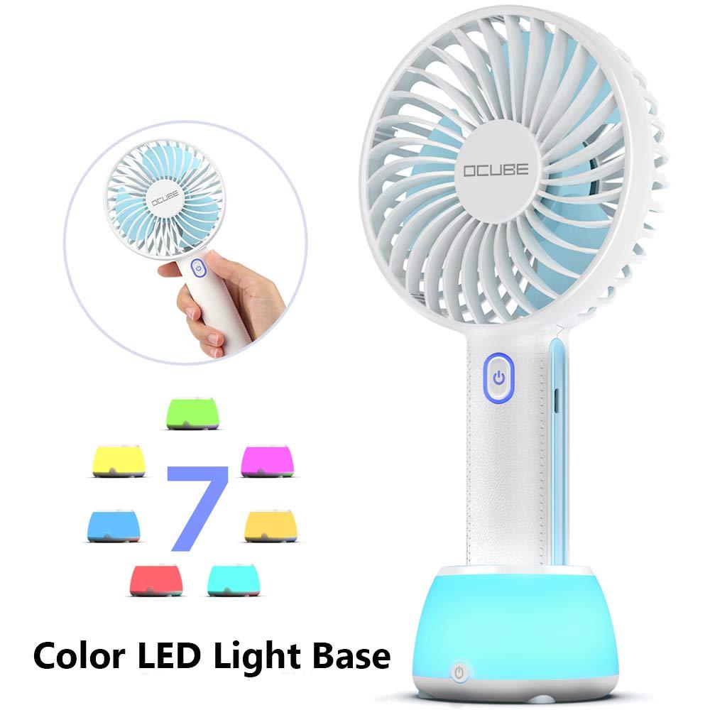 OCUBE Handheld Fan, Mini Hand Held Fan with 7 Color LED Light Base