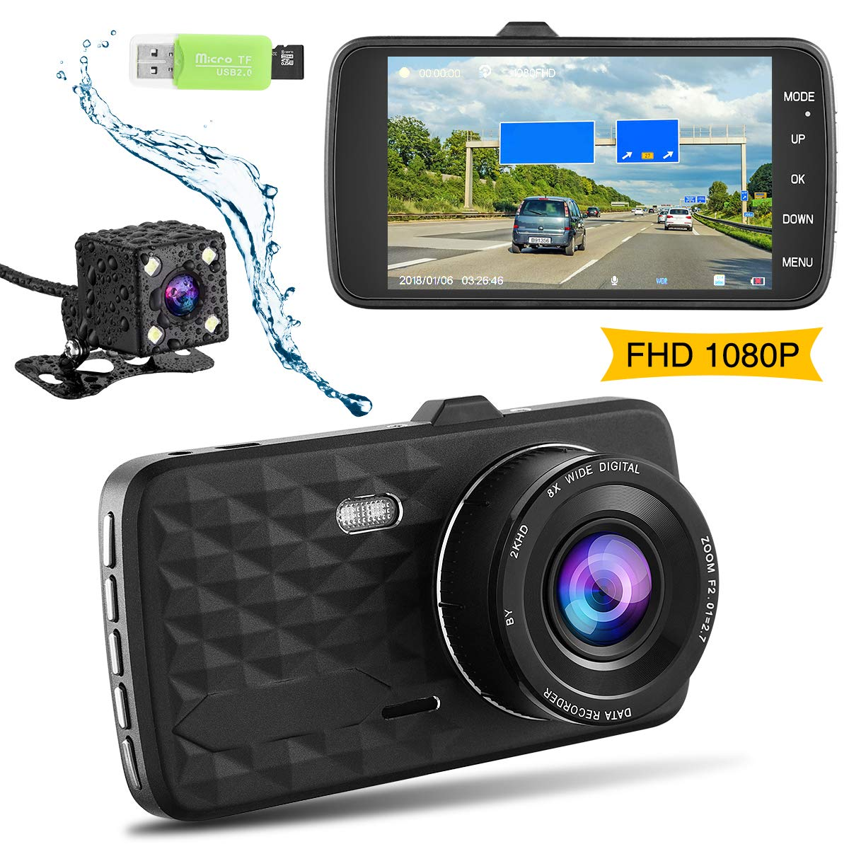 Dual Dash Cam Front and Rear Camera (32 GB SD Card Included)