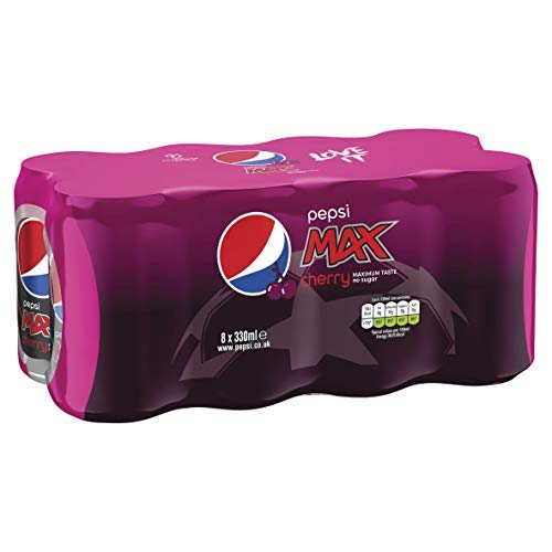 Pepsi Max Cherry Cans, 330 ml (Pack of 8)