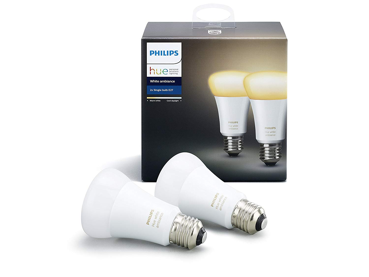 Philips Hue White Ambience Twin pack A19 E27 60W Equivalent Dimmable LED Smart Bulbs