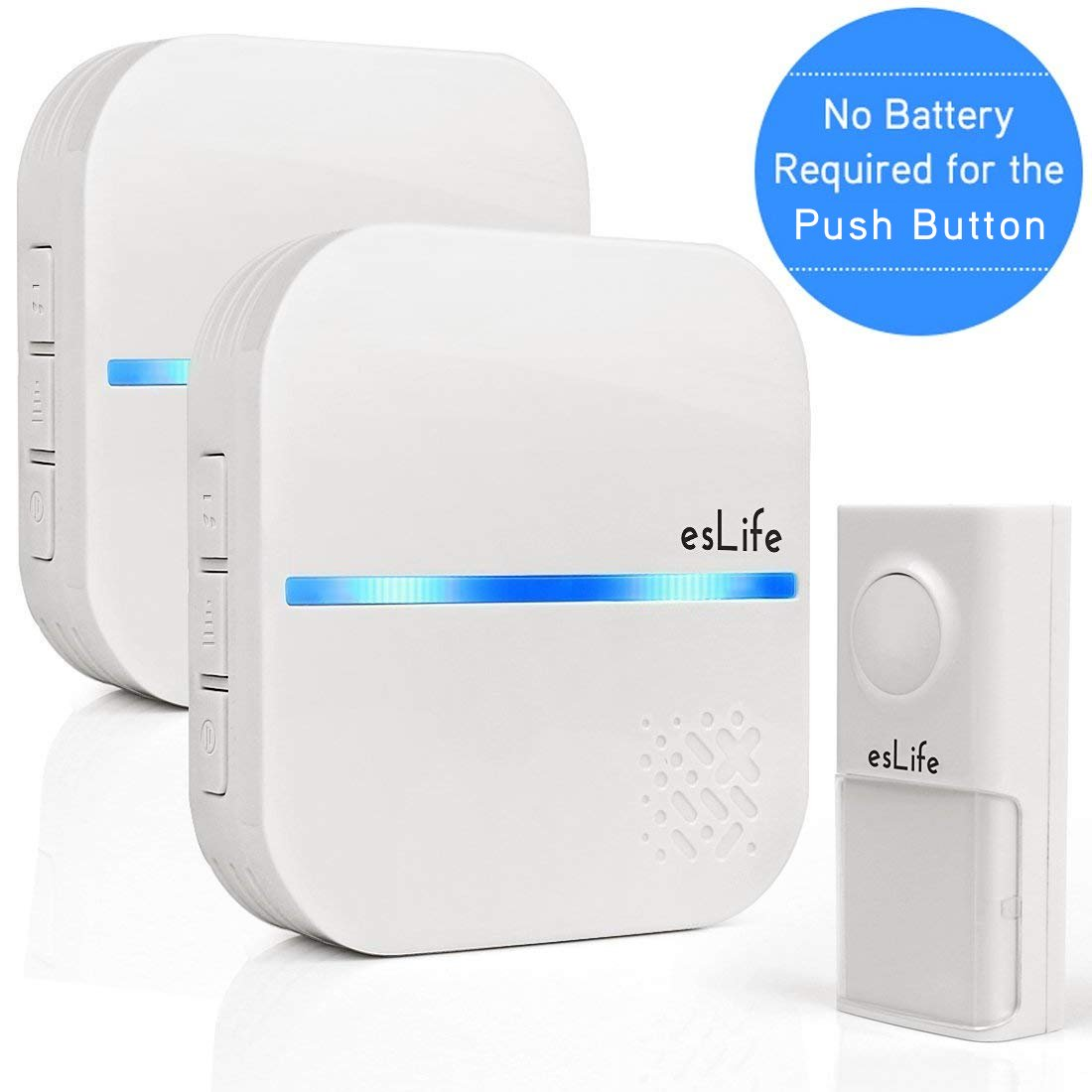 No Battery Required Wireless Doorbell, 1 Push Button(Self-Generating Power)